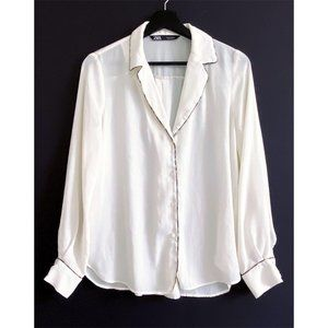 ZARA BLOUSE WITH CONTRASTING PIPING, Size S